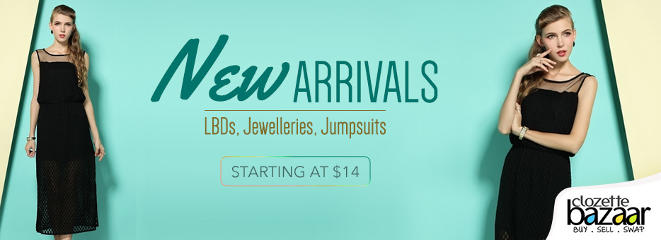 Clozette, Bazaar, Cash, Sell, Closet, Preloved, Upcycled, Designs, Wardrobe, New arrivals, Jewelleries, Jumpsuits, LBDs, Little Black Dress